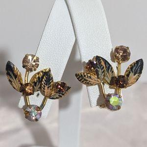 Vintage Painted Leaf Gold Rhinestone Clip Earrings